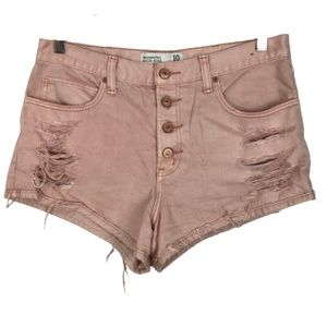 Abercrombie & Fitch High Rise Jean Shorts Pink 10